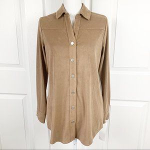 Foxcroft NYC Faux Suede Button Down Top